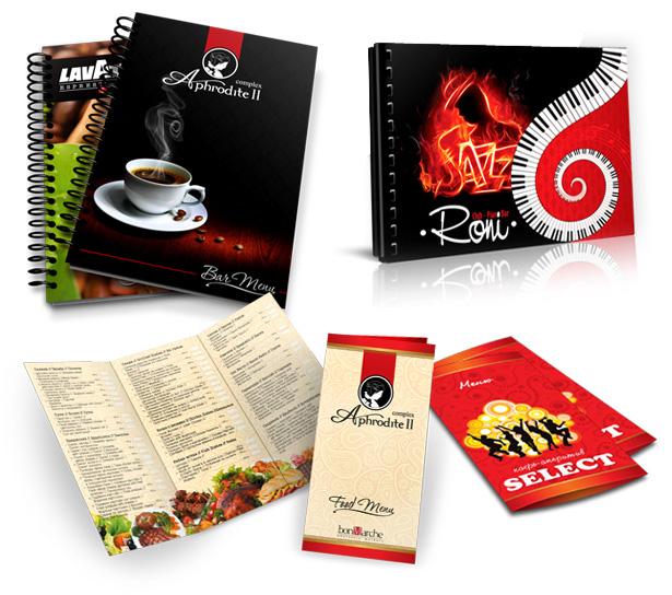 Изработка и печат на менюта за ресторанти, заведения, кафете, сладкарници, механи, кръчми