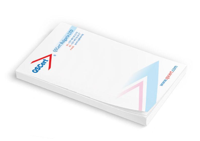 Отпечатване на кубчета за писане на фирма за сертификация QSCERT