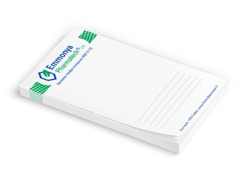 Отпечатване на хартиени кубчета за писане на фирма Emmonya Pharmatech - гр. София